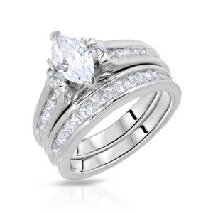 Jewelry - 925 Sterling Silver CZ Wedding Set Engagement Ring
